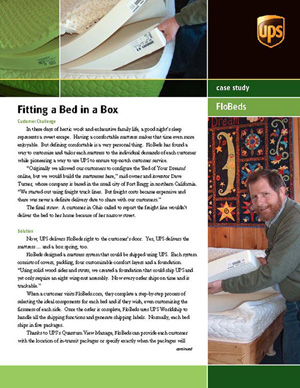 UPS article on FloBeds Bed in a Box